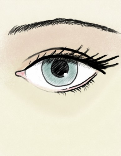 Colored Eye Sketch on Mobile Phone