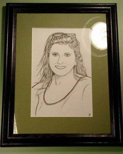 Sketch mounted and framed